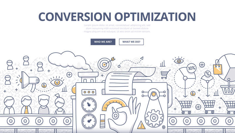 Conversion Optimization Doodle Concept vector illustration