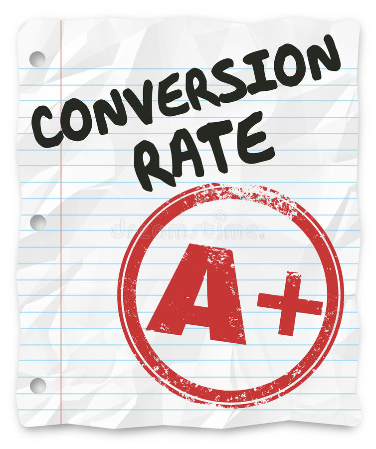 Conversion Rate Grade Lined Paper Successful Sales Percentage royalty free illustration