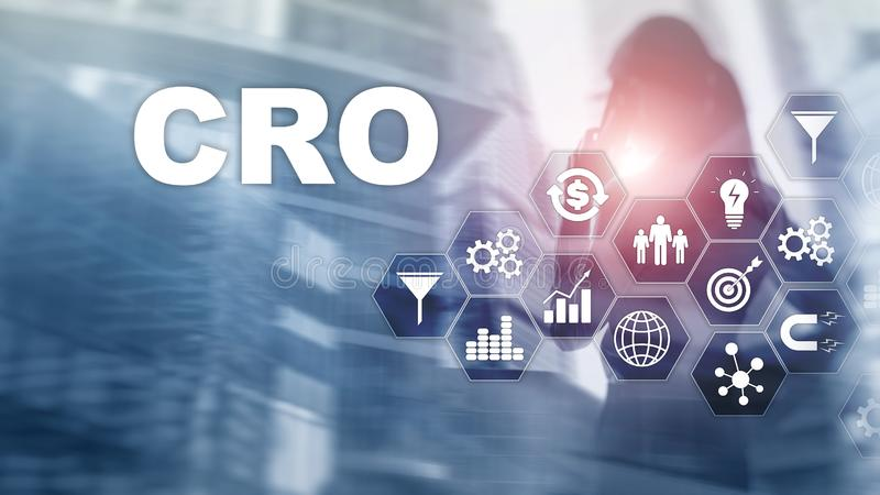 Conversion Rate Optimization. CRO Business Technology Finance concept on a virtual screen. royalty free illustration