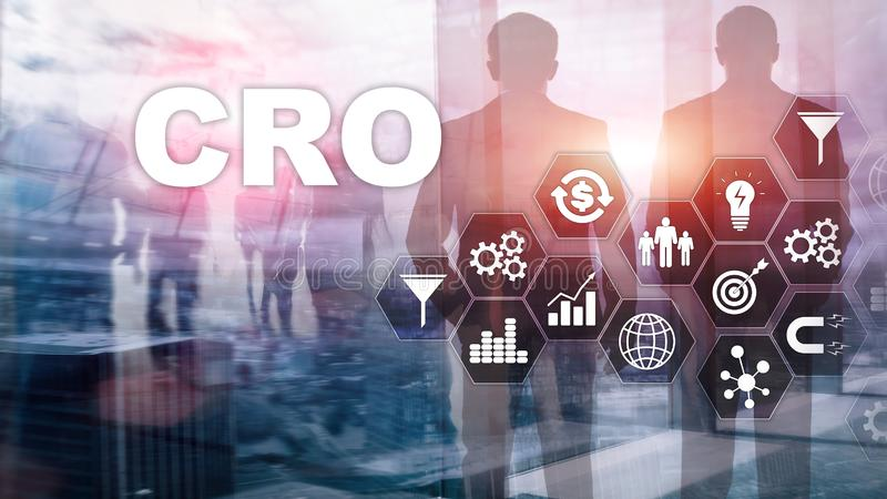 Conversion Rate Optimization. CRO Business Technology Finance concept on a virtual screen. stock illustration