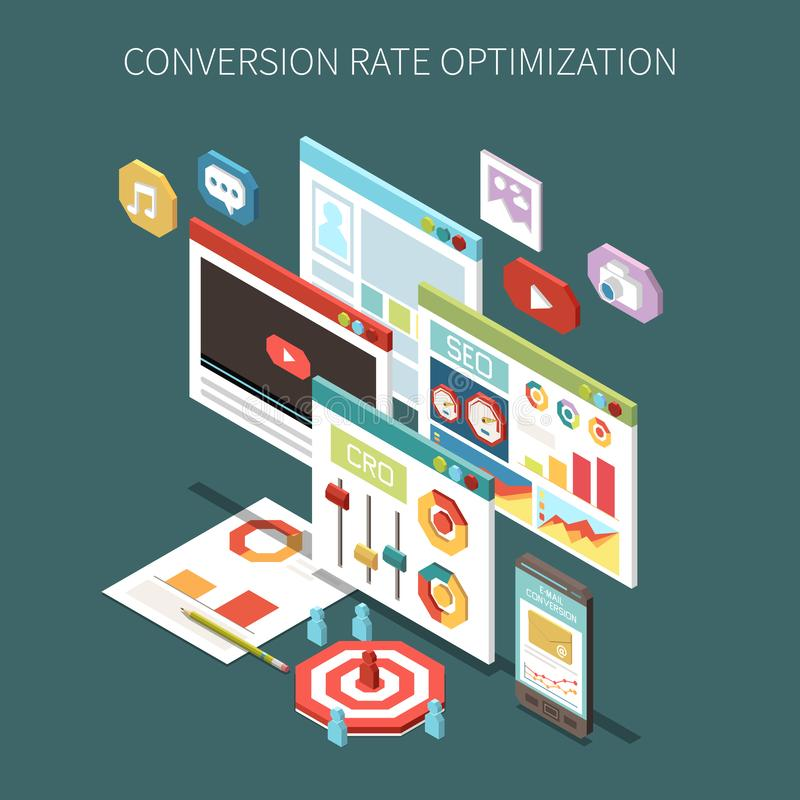 Conversion Rate Optimization Isometric Concept. With colorful video promotion and seo icons vector illustration stock illustration