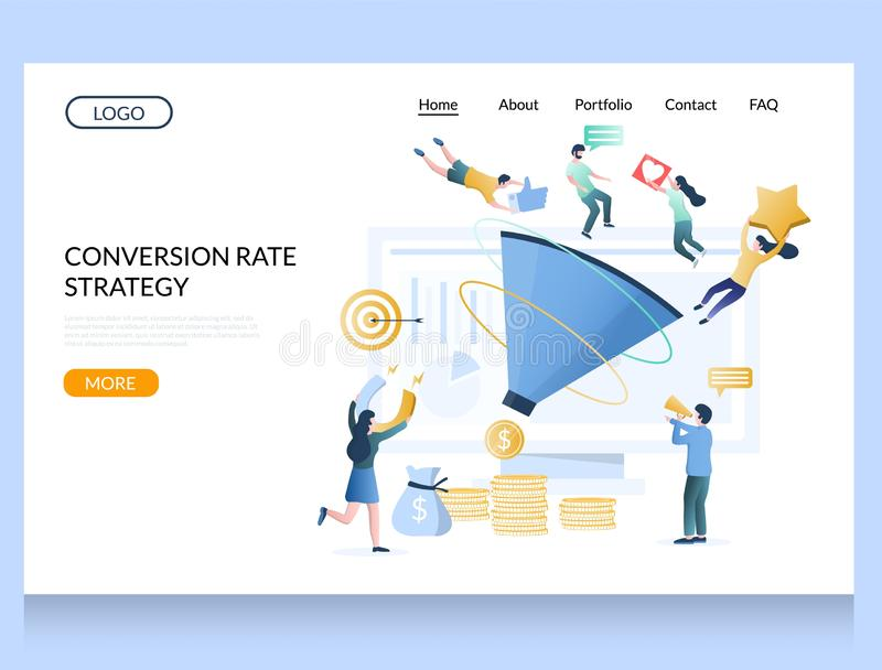 Conversion rate strategy vector website landing page design template. Conversion rate strategy vector website template, web page and landing page design for vector illustration