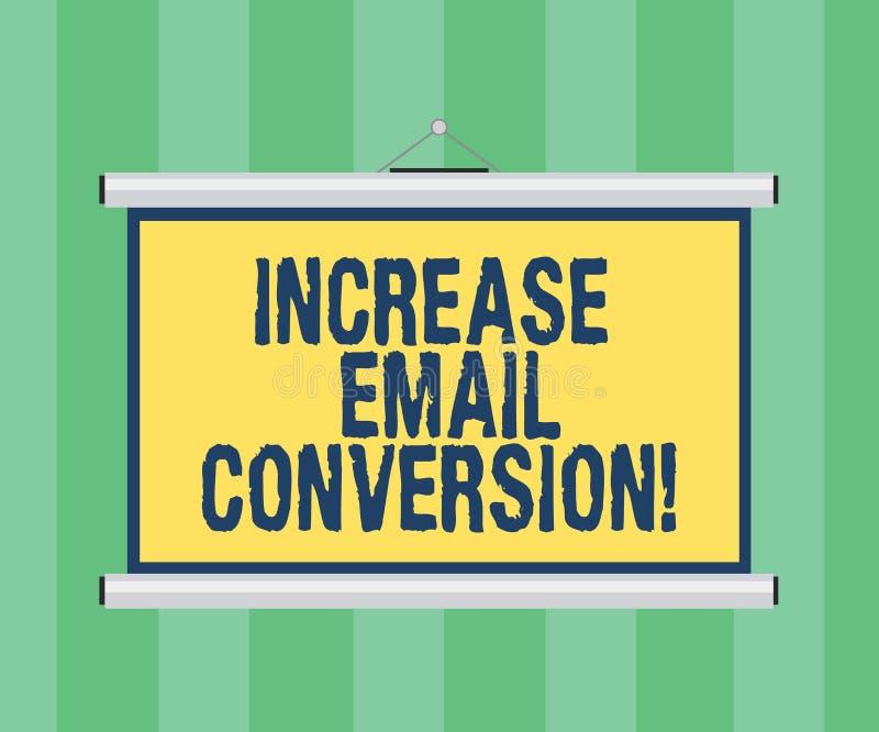 Conversione del email di aumento di scrittura del testo della scrittura Concetto che significa azione che ha luogo sulla vostra p illustrazione vettoriale