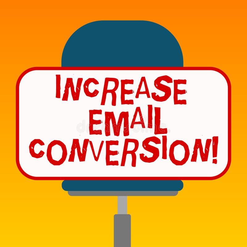 Conversione del email di aumento del testo della scrittura Concetto che significa azione che ha luogo sul vostro spazio in bianco royalty illustrazione gratis