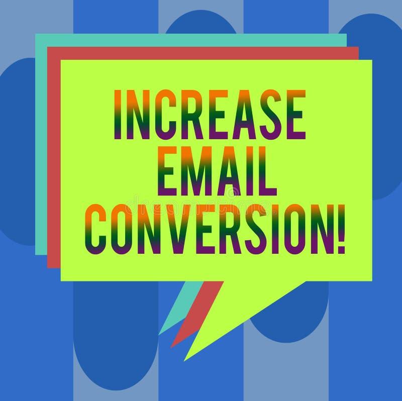 Conversione del email di aumento del testo della scrittura Concetto che significa azione che ha luogo sulla vostra pila d'atterra royalty illustrazione gratis