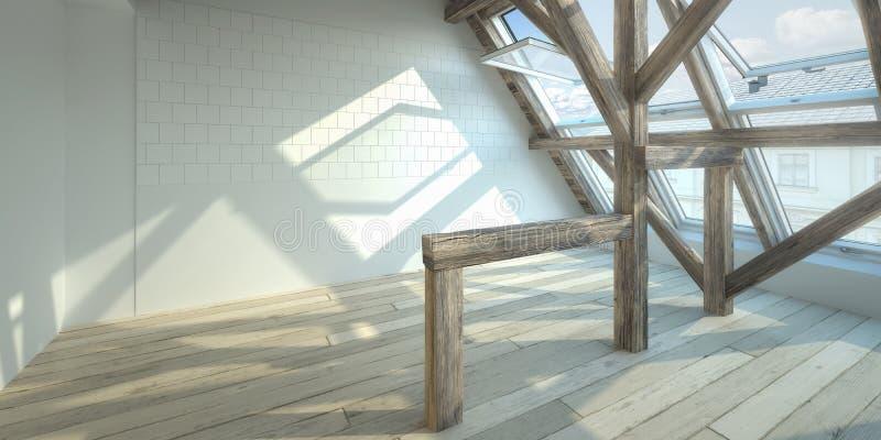 Conversione della soffitta, ( vuoto; panoramic) royalty illustrazione gratis
