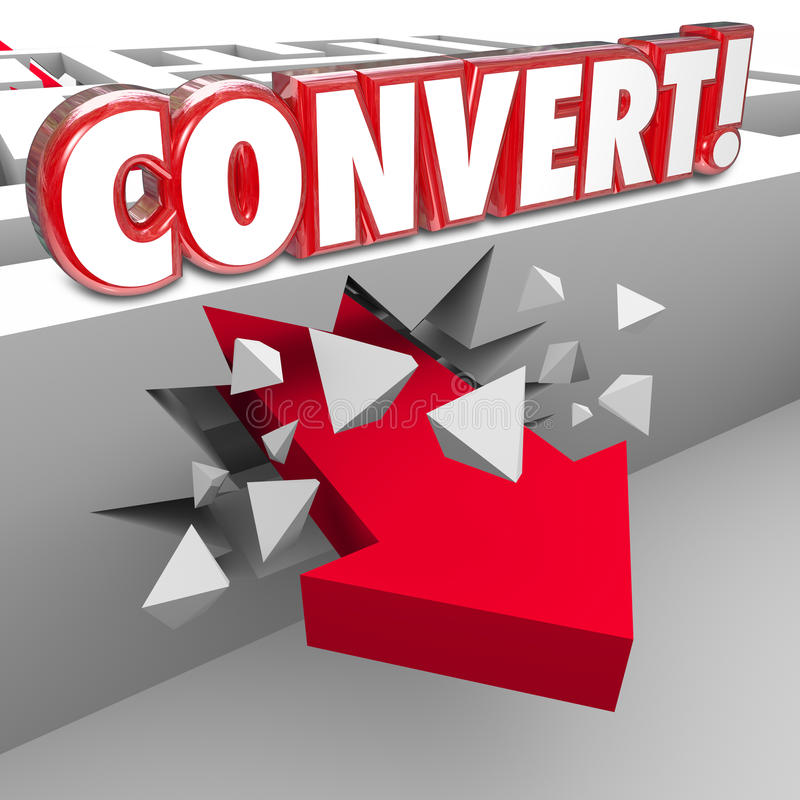 Convert 3d Word Arrow Through Maze Selling to Customers. Convert word in red 3d letters on a maze wall as an arrow crashes through to illustrate selling to royalty free illustration