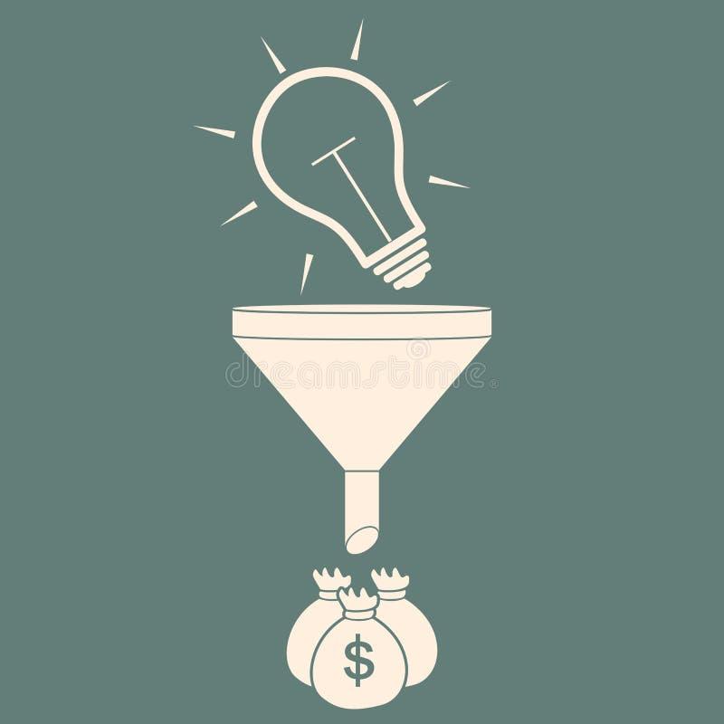 Convert the idea into money. concept profit. vector illustration