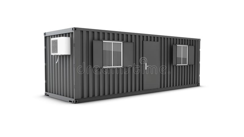 Converted old shipping container into building office, 3d Illustration isolated white stock photography