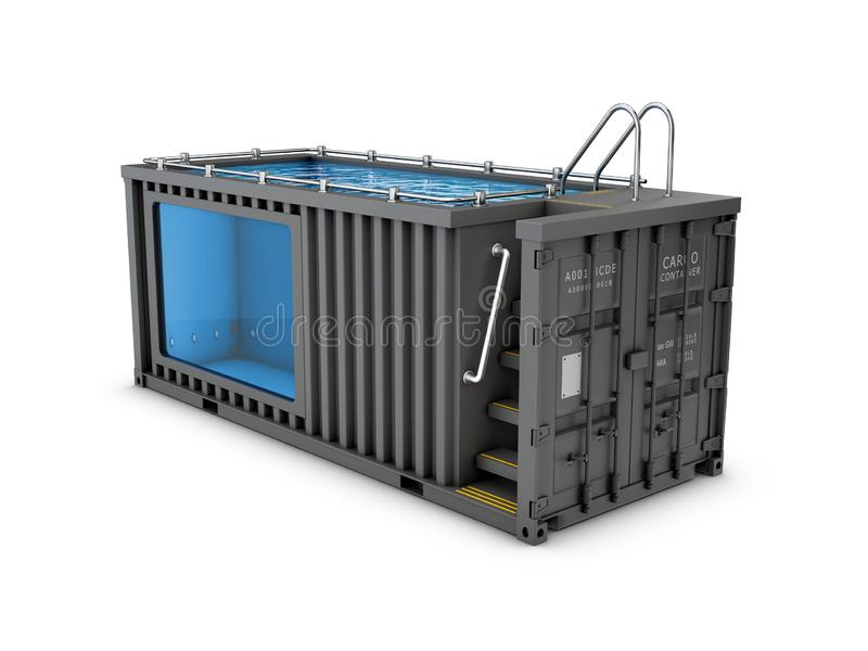 Converted old shipping container into swimming pool, isolated white 3d Illustration stock image