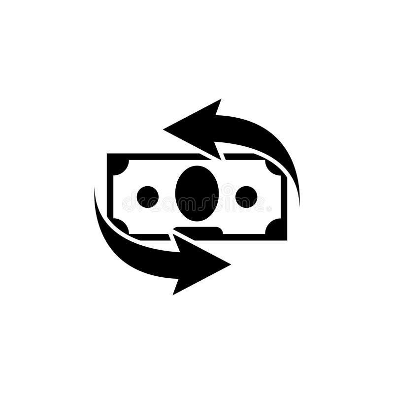 Converti d'argent, services financiers, icône de vecteur de dos d'argent liquide illustration stock