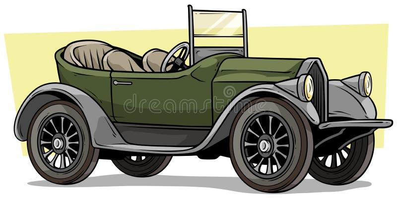Convertibele auto van de beeldverhaal retro uitstekende luxe royalty-vrije illustratie