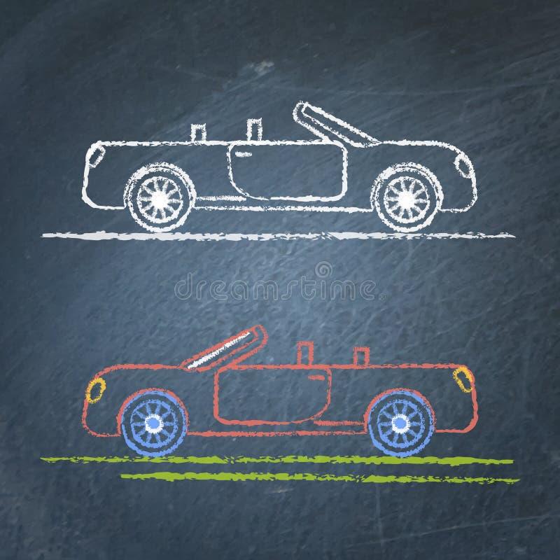 Convertibele autoschets op bord royalty-vrije illustratie
