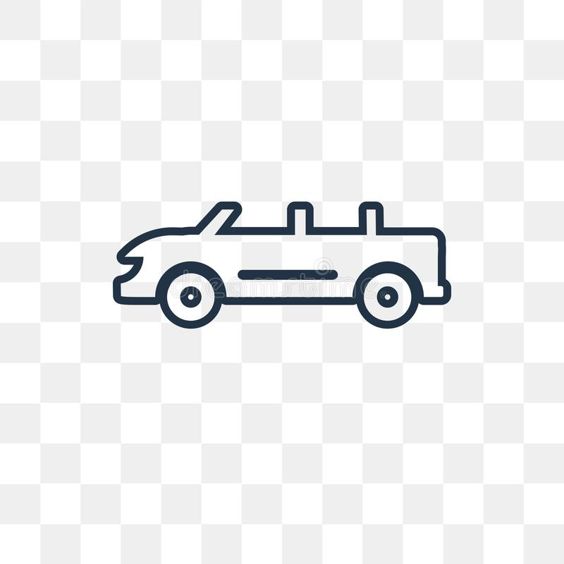 Convertible Car vector icon isolated on transparent background, stock illustration
