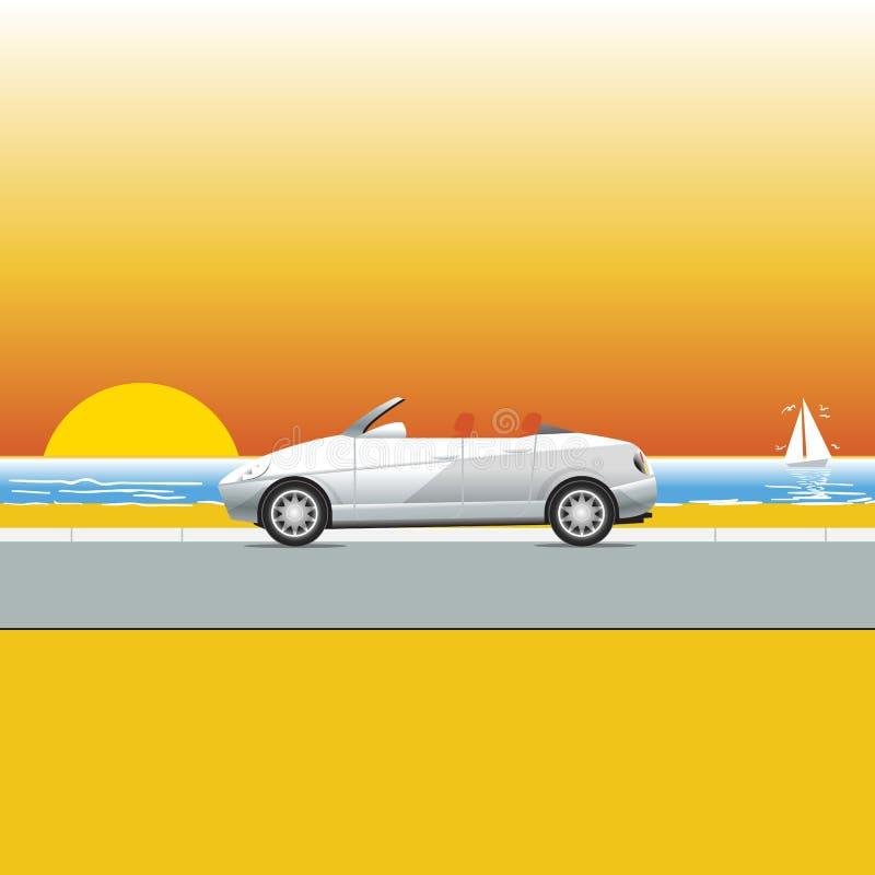 Convertible cerca de la playa stock de ilustración