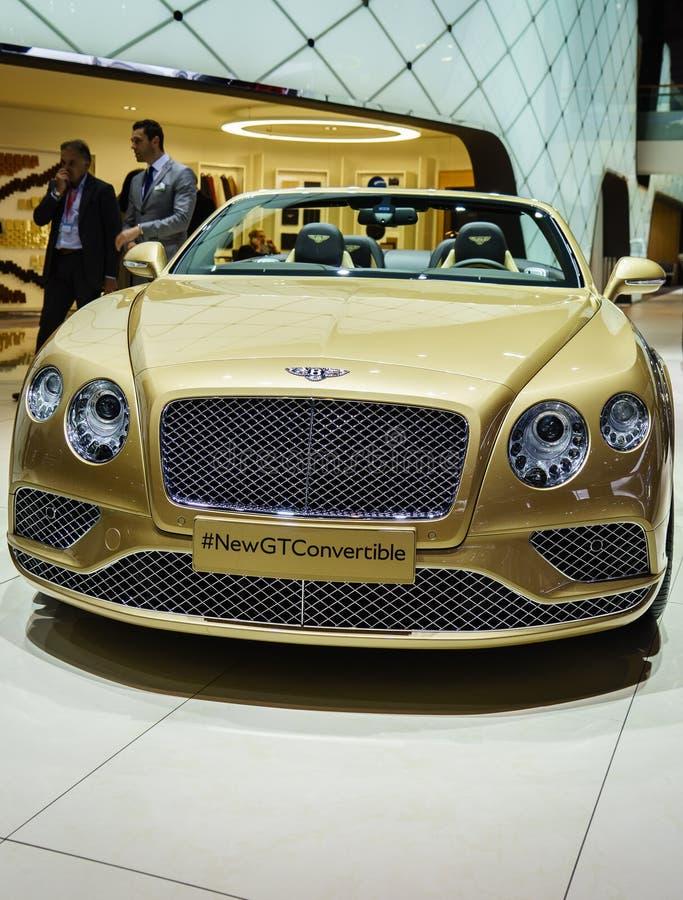 Convertible de Bentley Continental GT, exposição automóvel Geneve 2015 imagem de stock royalty free