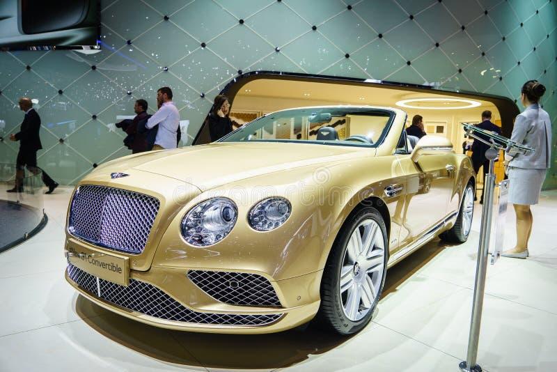 Convertible de Bentley Continental GT, exposição automóvel Geneve 2015 fotos de stock royalty free