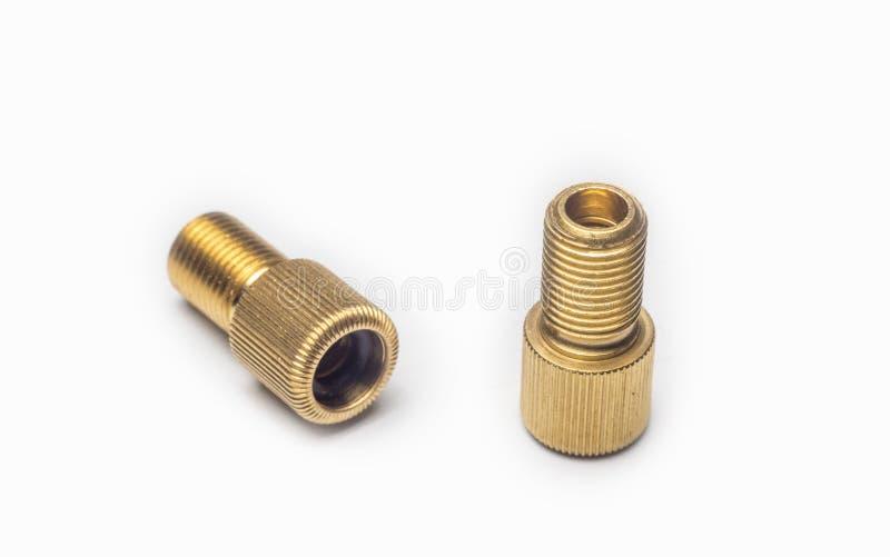 Convertidor de cobre amarillo de las válvulas del adaptador de la bomba imagenes de archivo