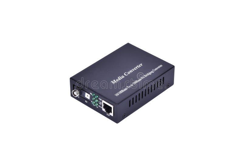 Convertisseur optique de media de fibre avec le connecteur RJ45 métallique et le FC f image stock