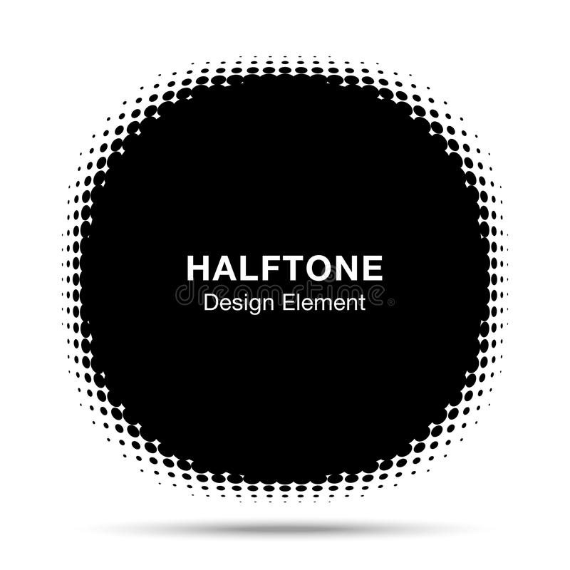 Convex distorted black abstract vector circle frame halftone dots logo emblem for new technology pattern background. stock illustration