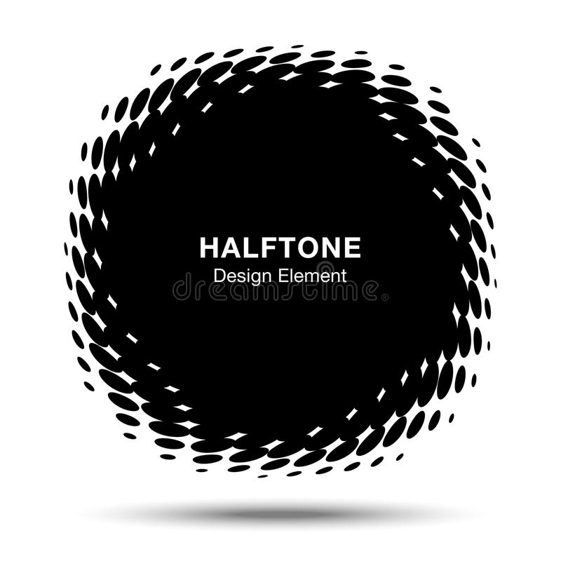 Convex distorted black abstract vector circle frame halftone dots logo emblem for new technology pattern background. Convex distorted black abstract vector stock illustration