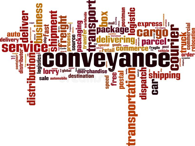 Conveyance word cloud. Concept. Vector illustration royalty free illustration