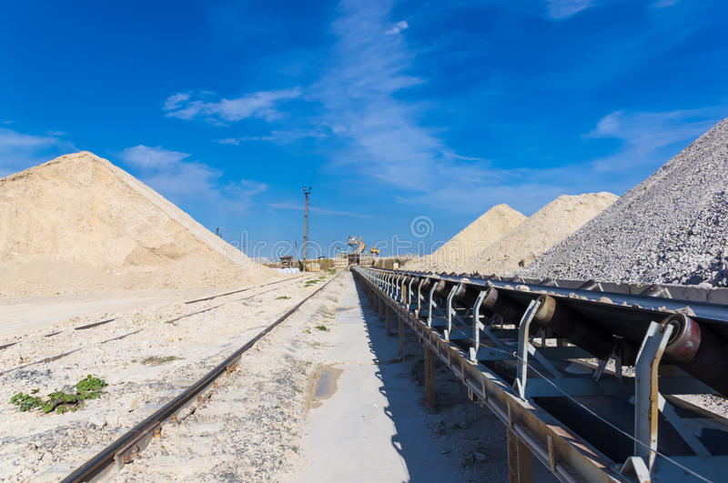 conveyer belt in career on extraction of clay stock image