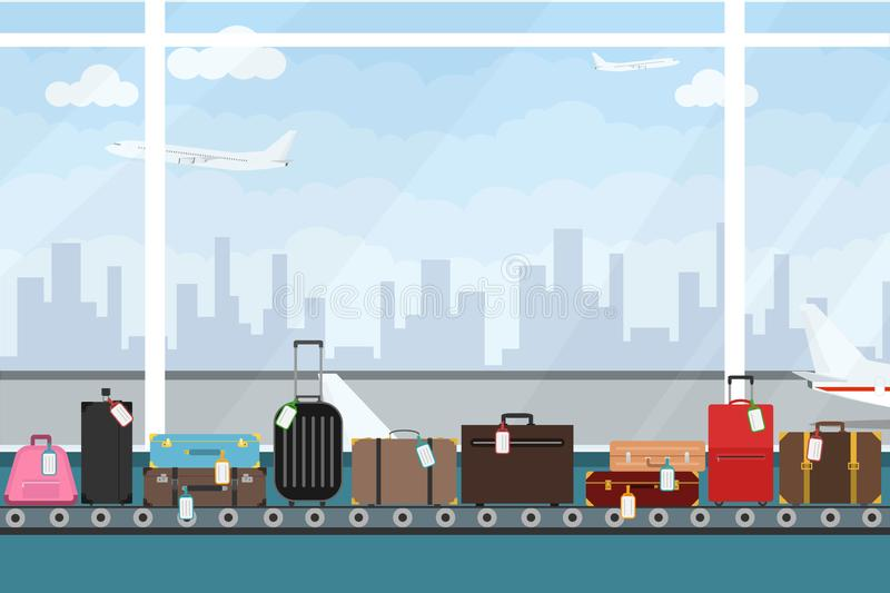 Conveyor belt in airport hall. Baggage claim. Airport conveyor belt with passenger luggage bags vector illustration. Airport baggage belt stock illustration