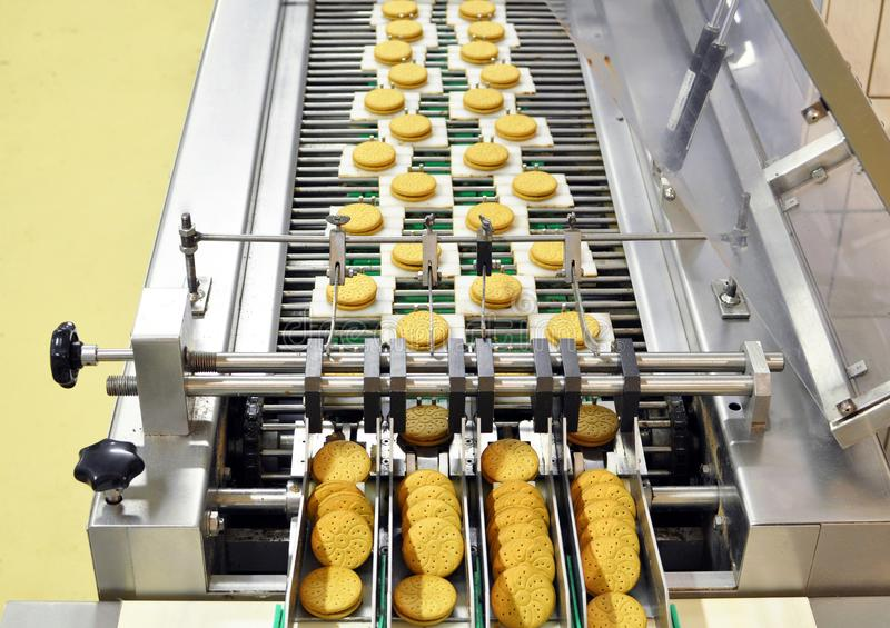 Conveyor belt with biscuits in a food factory - machinery equipm. Ent stock image