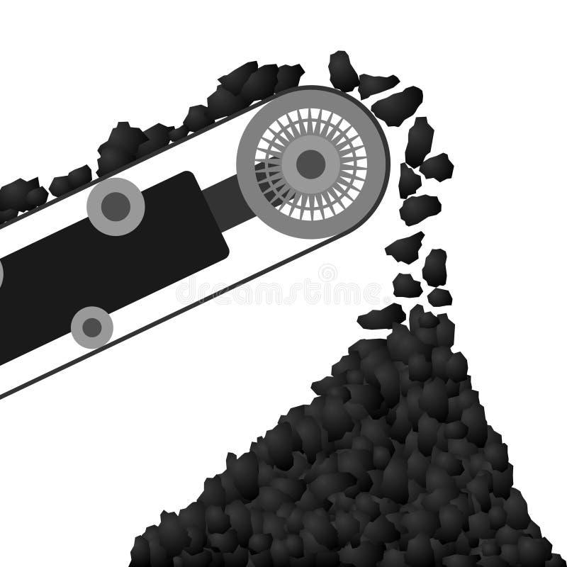Conveyor belt with coal vector illustration