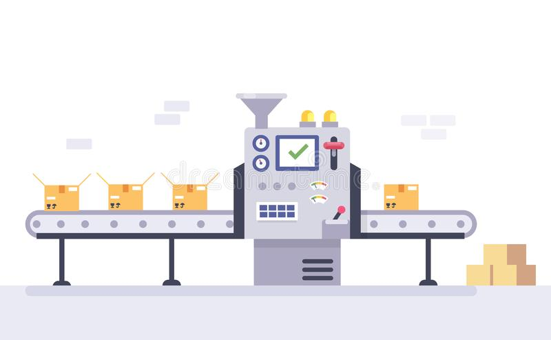 Technology and packing concept in flat style. Industrial machine vector illustration. stock illustration