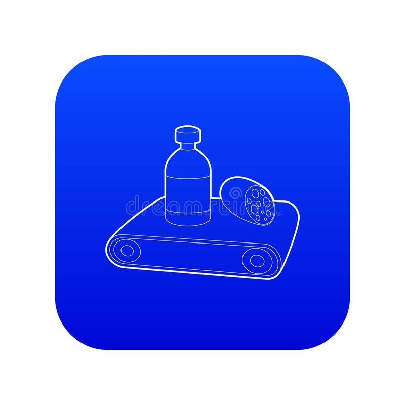 Conveyor belt icon blue vector. Isolated on white background vector illustration