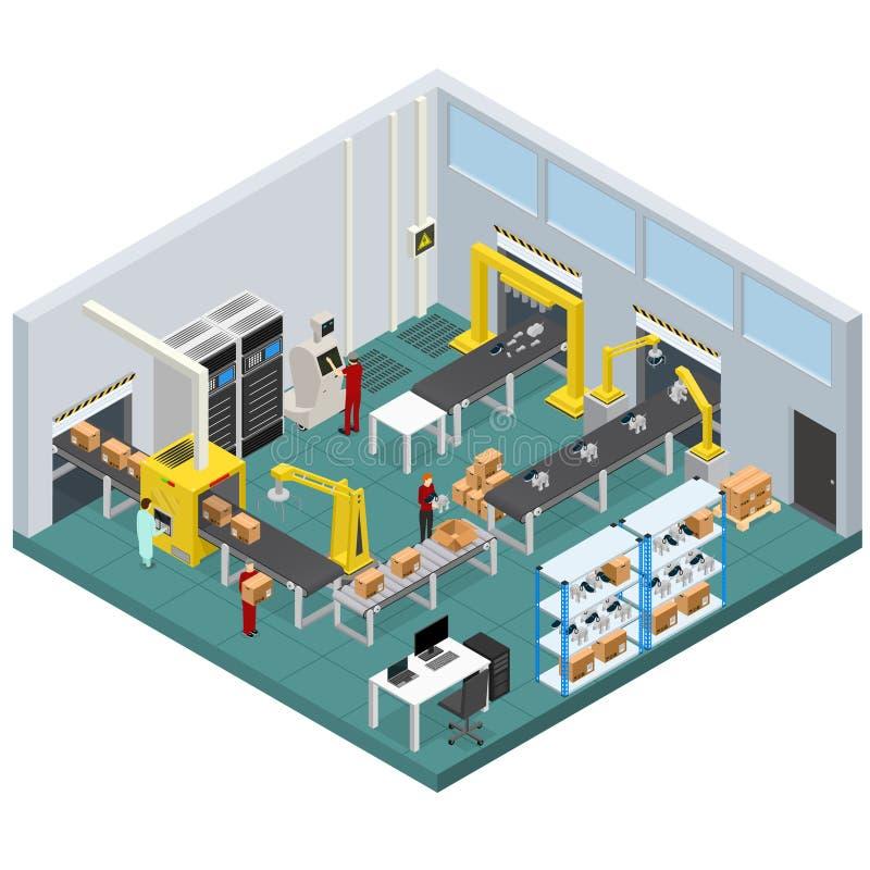 Conveyor Line Factory Interior with Isometric View. Vector. Conveyor Belt Line Factory Interior with Isometric View Automatic Production Packaging Work stock illustration
