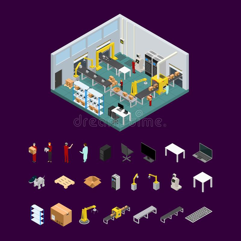 Conveyor Line Factory Interior with Parts Isometric View. Vector. Conveyor Belt Line Factory Interior with Parts Isometric View Automatic Production Packaging stock illustration