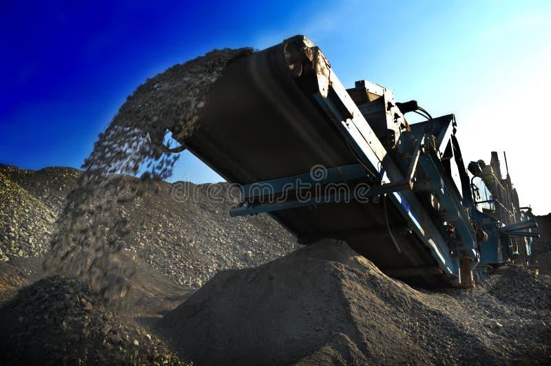 Conveyor belt mining crusher stock photo
