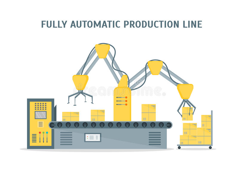 Conveyor Fully Automatic Production Line. Vector vector illustration