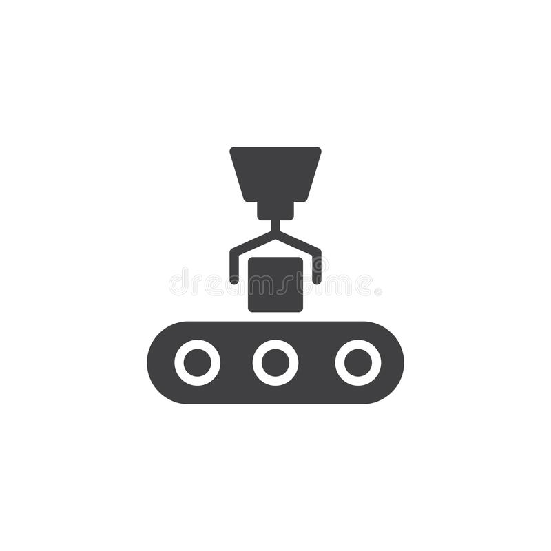 Conveyor loading icon vector. Filled flat sign, solid pictogram isolated on white. Robotic technology symbol, logo illustration vector illustration