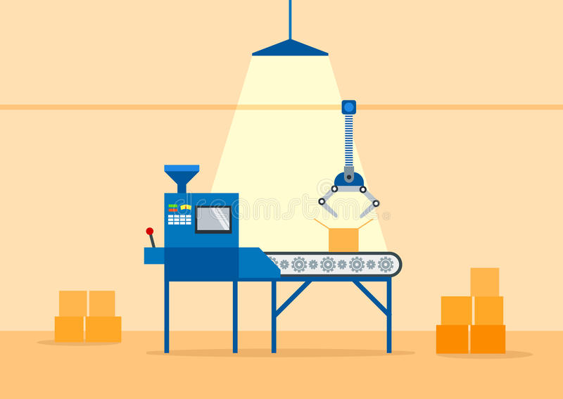 Conveyor Machine in Factory - flat illustration. Manufacture and packaging on factory by conveyor belt. Production concept. royalty free illustration