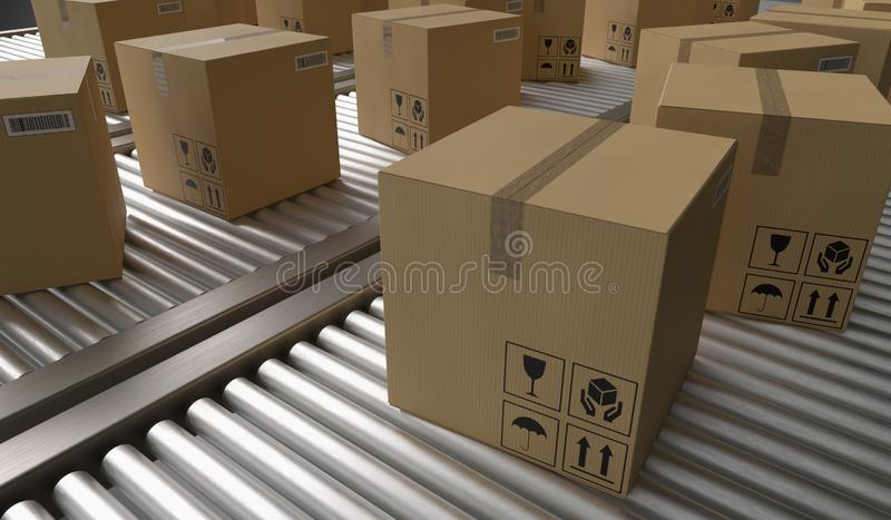 Conveyor with many cardboard boxes. Package delivery concept. 3D rendered illustration. Conveyor with many cardboard boxes. Package delivery concept. 3D royalty free illustration