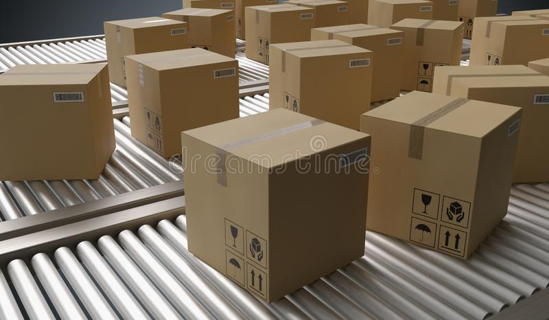 Conveyor with many cardboard boxes. Package delivery concept. 3D rendered illustration. Conveyor with many cardboard boxes. Package delivery concept. 3D stock illustration