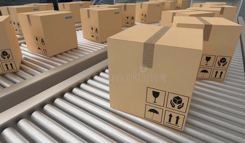 Conveyor with many cardboard boxes. Package delivery concept. 3D rendered illustration. Conveyor with many cardboard boxes. Package delivery concept. 3D vector illustration