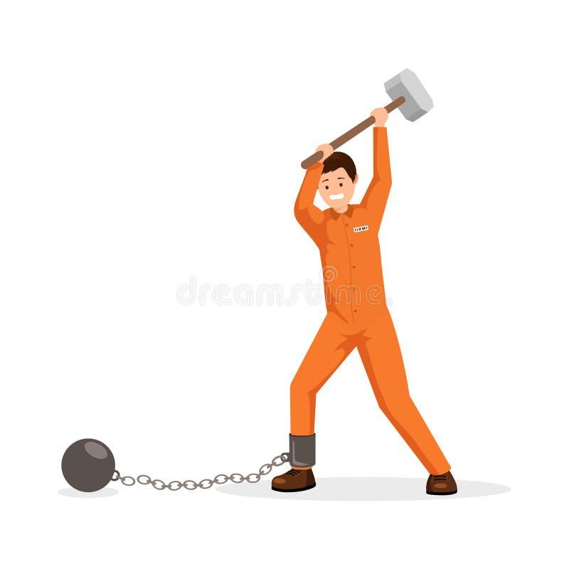 Prisoner breaking shackles flat vector illustration. Man in prison uniform holding huge sledge hammer, trying to break stock illustration