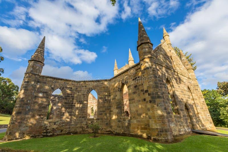 Convict Church Port Arthur. Ruins of the Church Convict, ancient historic church convict settlement, at Port Arthur Historic Site, in Tasman Peninsula, Tasmania royalty free stock photos