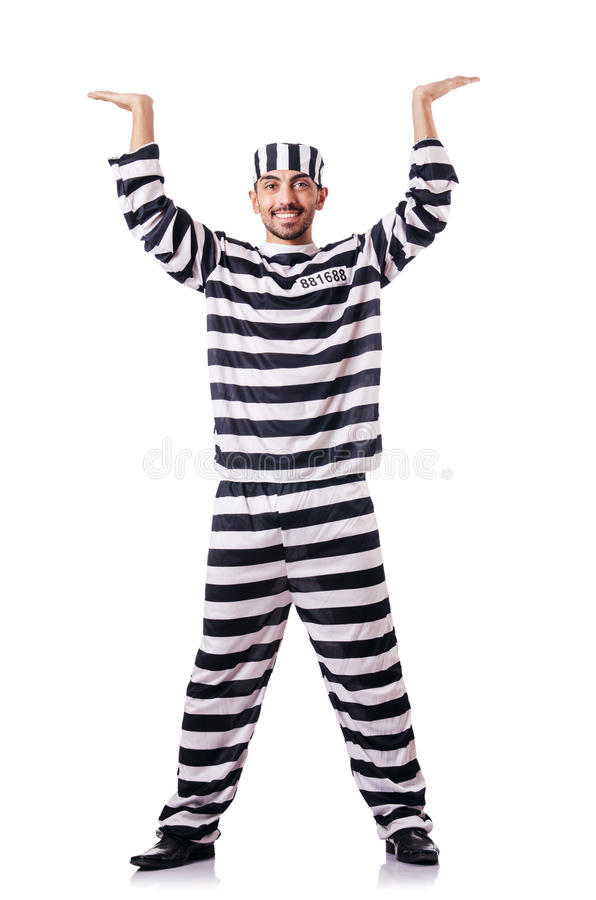 Convict criminal. In striped uniform royalty free stock photo