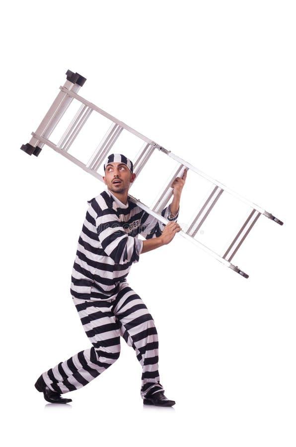Convict criminal. In striped uniform stock image