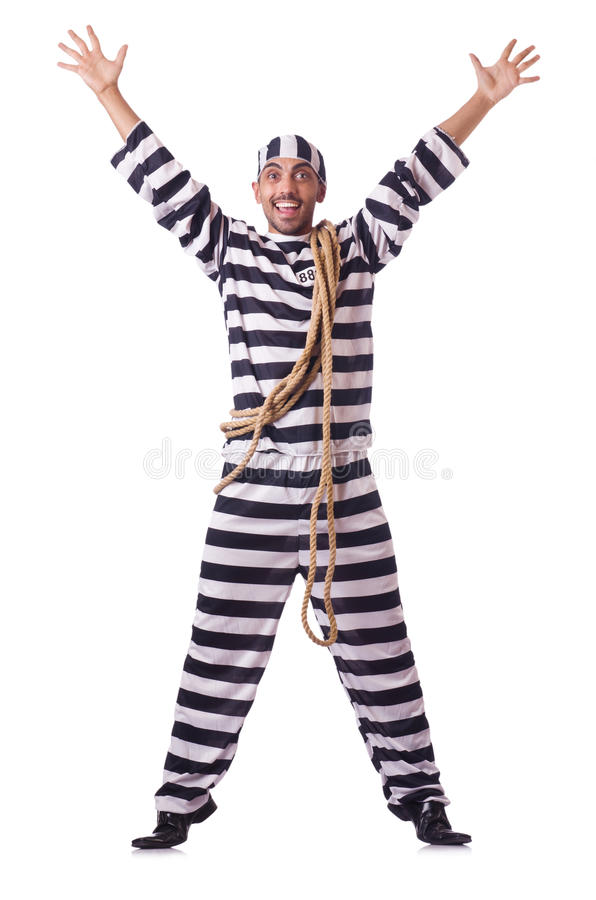 Convict criminal. In striped uniform royalty free stock image