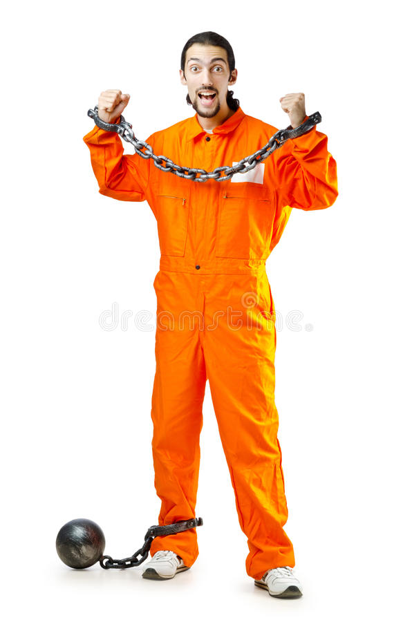 Convict with handcuffs. On white stock images