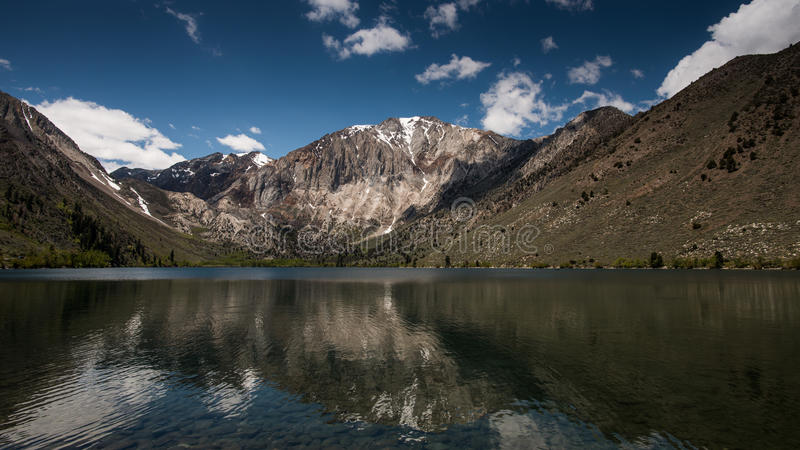 Convict Lake Resort on A Cloudy Day. Convict Lake is a lake in the Sherwin Range of the Sierra Nevada in California, United States. It is known for its fishing stock photography