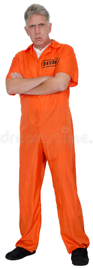 Convict, Prisoner, Criminal, Jailbird, Isolated. A bank robber convict, prisoner, or jailbird. The male is a bad man or guy. Isolated on white royalty free stock photos