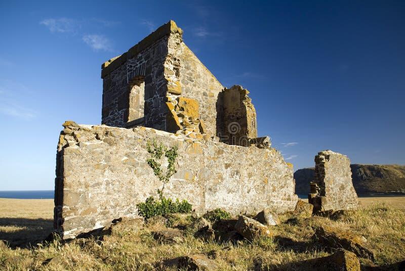 Convict Ruins. Overlook the sleepy seaside town of Stanley, Tasmania stock images